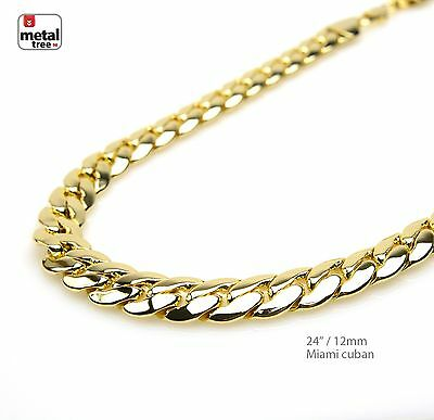 """Men's Heavy 12 mm Solid 14K Gold Plated Miami Cuban Link Chain Necklace 24"""""""