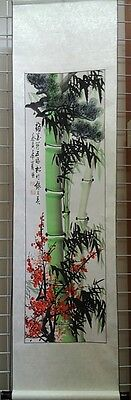 Hand Calligraphy Silk Scroll (Pine Tree, bamboo and cherry blossom)