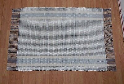 Homemade Handcrafted Loom-Woven Rag Rug 36x27 Inches White Blue