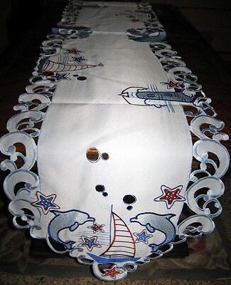 "Dolphin Sailboat Lighthouse Table Runner Embroidered Dresser Scarf 67""x 13"""