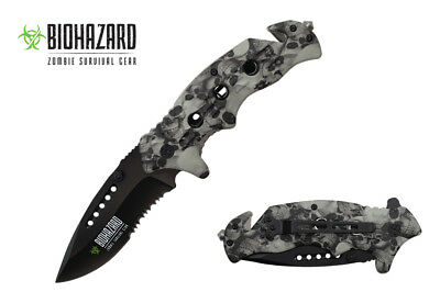 """8"""" Wartech USA Grey Skull Spring Assisted Opening Folding Knife YCS7014SGY"""