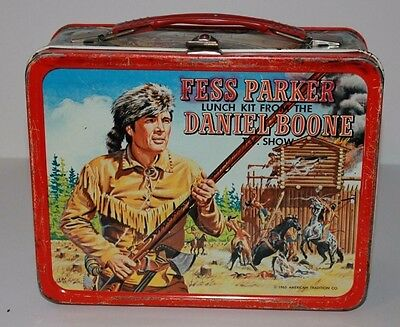 Vintage Metal Lunchbox W/metal Thermos 1965 Fess Parker As Daniel Boone