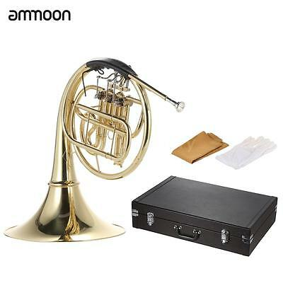 ammoon French Horn B/Bb Flat Wind Instrument with Cupronickel Mouthpiece J3I0