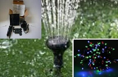 Solar Pond Fountain 1.5W 150Lph + Red Green Blue Fairy Lights 200 Led, Aust Own