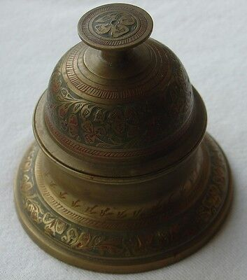 Vtg Etched Brass Elephant Claw Bell On Stand Base Missing Clapper