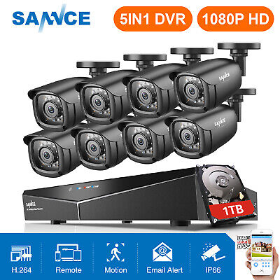 SANNCE HD 1080N 8CH DVR 8X 720P Outdoor Camera Home Surveillance Security System