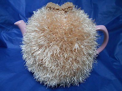 Funky fluffy tea cosy hand knitted in Wales BEIGE please see size guide for fit