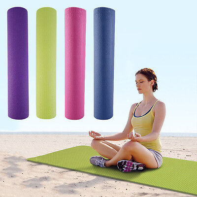 Fitness PVC Non-slip Thick Yoga Mat Pad for Exercise Pilates Gym Leisure Mat IB