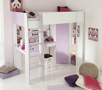 hochbett kinderzimmer jugendzimmer eckschrank schreibtisch weiss lila hochglanz eur 599 00. Black Bedroom Furniture Sets. Home Design Ideas