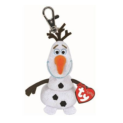 OLAF SPARKLE - Ty Beanie Babies Keyring Key Clip with Sound - Plush Frozen Teddy