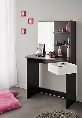 eck schminktisch frisierkommode kosmetiktisch spiegel hocker schwarz weiss neu eur 349 00. Black Bedroom Furniture Sets. Home Design Ideas