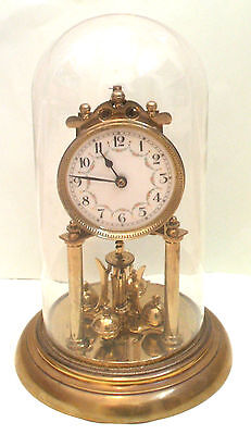 "Schatz German Anniversary Winding Movement Mantle Clock,Glass Dome 12""H 7""D GWO"
