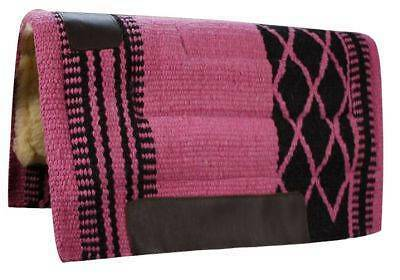 "34""x 36"" PINK/BLACK Wool Top Western Cutter Style Saddle Pad! NEW HORSE TACK!"