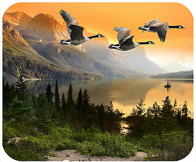 Mouse Pad Personalized Custom Thick Mousepad-Geese With Mountains At Sunset