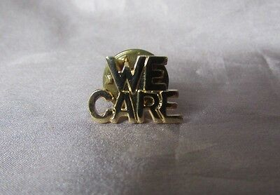 "We Care Gold Tone Lapel Pin 1/2""x 1/2"""