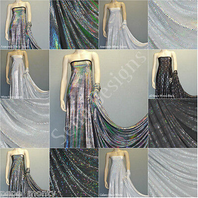 Hologram Foil Silk Touch Stretch Holographic Lycra Spandex Fabric Free P&P