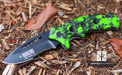 """Wartech 8"""" Spring Assisted Survival Rescue Pocket Knife w/ Green Skull Handle"""