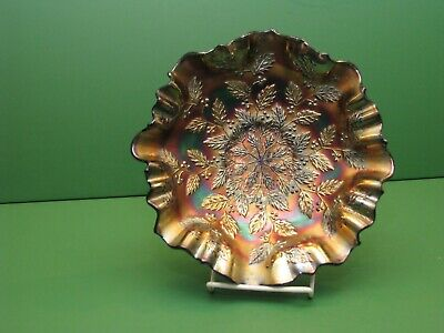 Fenton Carnival Glass HOLLY RARE Electric Blue 2 in one edge 9 inch bowl