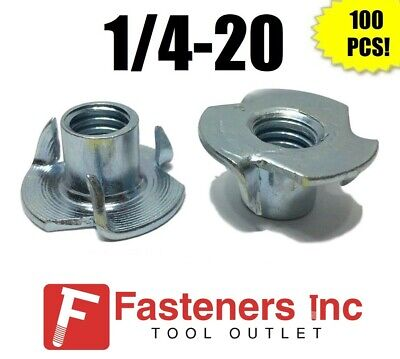 "(Qty 100) 3 Prong T-Nut 1/4""-20 x 7/16"" (Tee Nut) Zinc Plated"