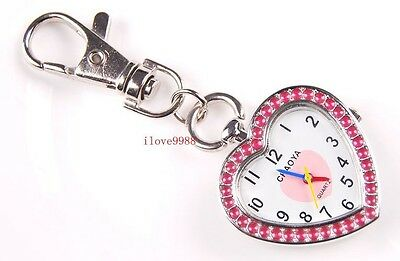 New 10 pcs Fashion pink Heart design Key Ring pocket Watches gifts USK46