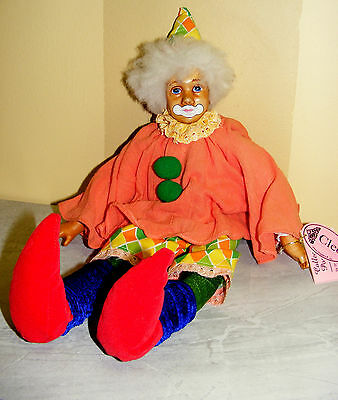 "Vtg. Collectible ""SHOW STOPPERS"" hand painted CLOWN DOLL-""CLEO"" -16 1/2"" TALL"