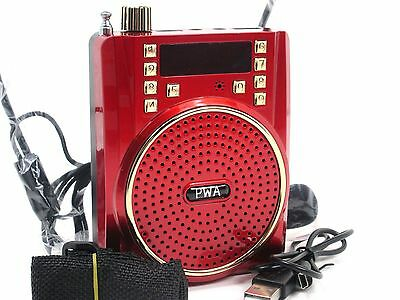 New Portable Waist Band PA Speaker Megaphone W/ Headset Microphone FM/REC/USB