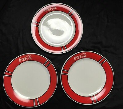 "Coca-Cola Dinner Plates 10.5"" By Gibson Qty. 3 White Red"