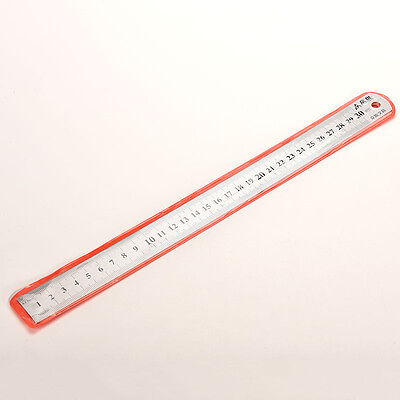 30cm Stainless Metal Ruler Metric Rule Precision Double Sided Measuring Tool BD