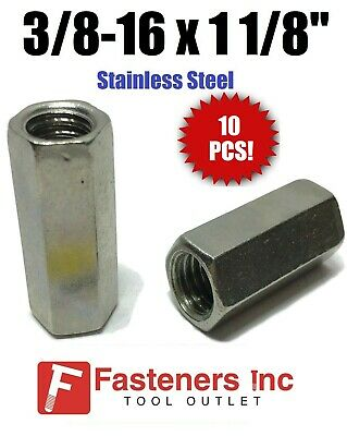 "(Qty 10) 3/8""-16 x W1/2"" x L1-1/8"" Stainless Steel Threaded Rod Coupling Nuts"