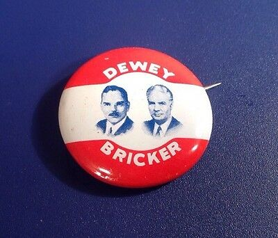 1944 Dewey Bricker Political Presidential Candidate Republican Party Pin (J40)