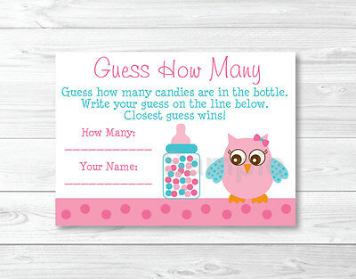 """Pink Owl Printable Baby Shower """"Guess How Many?"""" Game Cards"""