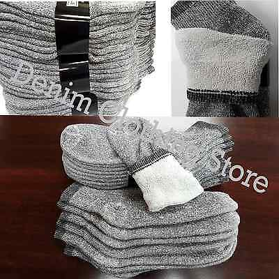 4~12pairs Men Cotton Ankle Terry Socks Gray Warm Thermal Sports Hiking Camp 9~13
