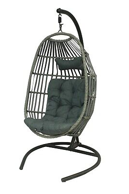 Rattan Swing Seat, Hammock, Hanging Chair with cushion & stand for Garden/Patio