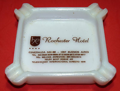 Rochester Hotel Buenos Aires Argentina Vintage Milk Glass Tray Ashtray