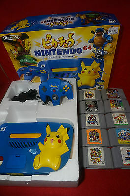 Boxed N64/ Nintendo 64 Pikachu Pokemon Blue & Yellow Console from Japan Lot of