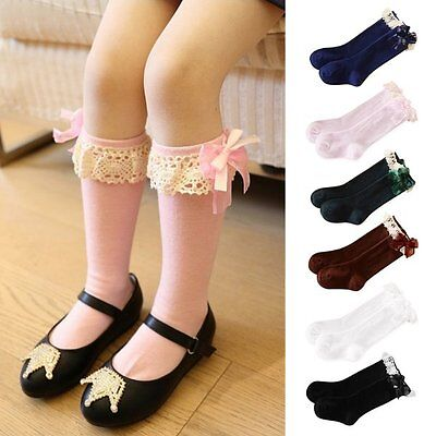 Kids Child Baby Girl Knee High Long Socks Lace Bow Cotton Casual Stockings 1-5Y