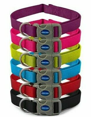 Ancol Nylon Adjustable Dog Collar Red Blue Black 3 sizes