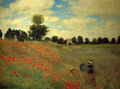 A3 -CLAUDE MONET POPPIES AT AGRA  - FAMOUS PAINTERS CLASSIC PAINTINGS Posters #4