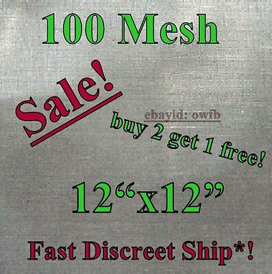 "12""x12"" - #100 Mesh / 150 Micron Stainless Steel Kief Box Screen  Pollen Filter"