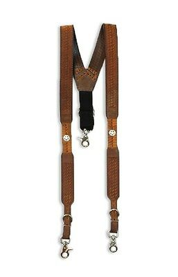 Western Men's Nocona Embossed Brown Basketweave Star Concho Suspenders - L