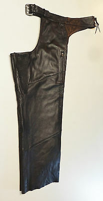 Harley Davidson Deluxe Black Leather Chaps Lined Xxl 2Xl  98091-06Vm  244