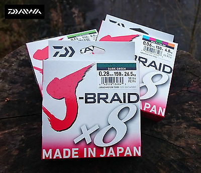 NEW DAIWA J-BRAID X8 FISHING LINE 150m SPOOL DARK GREEN AND BREAKING STRAINS