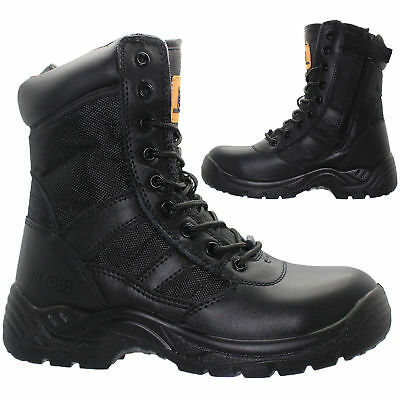 Mens Non Safety Military Combat Boots Police Army Zip Leather Work Shoes Size Uk