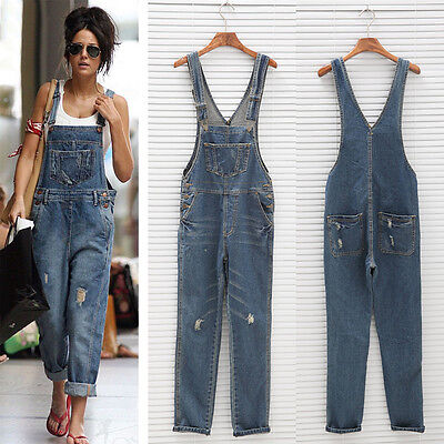 Celeb Womens Baggy Denim Jeans Full Length Pinafore Overall Jumpsuit DUNGAREE