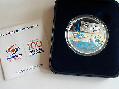 2009 Swimming Perth Mint Australia proof 1oz .999 silver box COA coin
