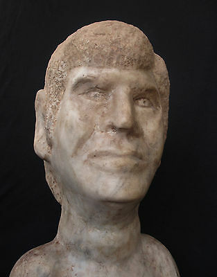 Antique Italian Marble Head of Man / Cemetery Statue of a Dead Person , 10kg!!!