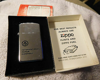 Vintage International Paper Co Lawrence MA,zippo slim lighter in box,ad ,new