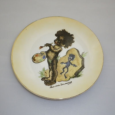 Brownie Downing 1950's Display plate of an Aboriginal Child  Rock Painting