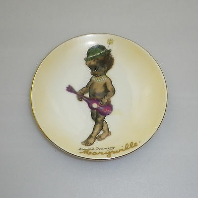 Brownie Downing 1950's pin dish of an Aboriginal Child playing a guitar.