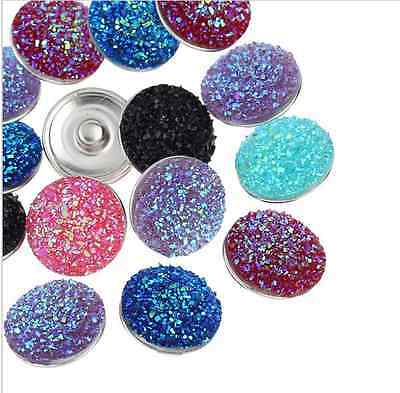 wholesales lot Resin Snap Buttons Fit Snap Bracelets Mixed 18mm